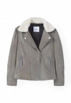 Куртка кожаная, Mango, цвет: серый. Артикул: MA002EWQUK51. Женская одежда / Верхняя одежда / Кожаные куртки