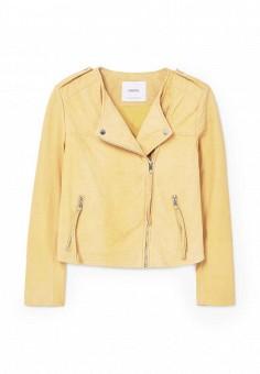 Куртка кожаная, Mango, цвет: желтый. Артикул: MA002EWRSI21. Женская одежда / Верхняя одежда / Косухи