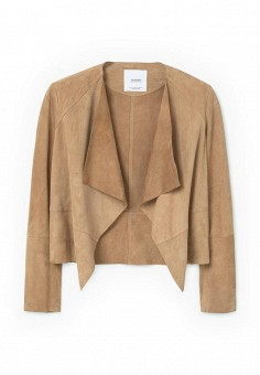 Куртка кожаная, Mango, цвет: бежевый. Артикул: MA002EWRSL01. Женская одежда / Верхняя одежда / Кожаные куртки