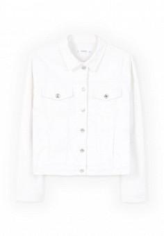Куртка джинсовая, Mango, цвет: белый. Артикул: MA002EWRTL36. Женская одежда / Верхняя одежда / Джинсовые куртки