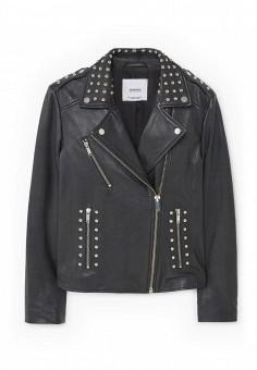 Куртка кожаная, Mango, цвет: черный. Артикул: MA002EWRTO09. Женская одежда / Верхняя одежда / Косухи