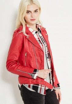 Куртка кожаная, Mango, цвет: красный. Артикул: MA002EWVCA83. Женская одежда / Верхняя одежда / Косухи