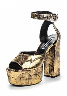 Босоножки, McQ Alexander McQueen, цвет: золотой. Артикул: MC010AWQEF64. Премиум / Обувь / Босоножки