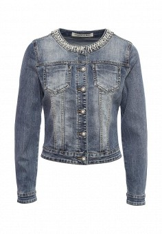 Куртка джинсовая, Miss Bon Bon, цвет: синий. Артикул: MI045EWRKM04. Женская одежда / Верхняя одежда / Джинсовые куртки