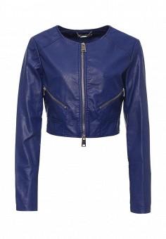 Куртка кожаная, Motivi, цвет: синий. Артикул: MO042EWRLC38. Женская одежда / Верхняя одежда / Кожаные куртки
