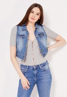 Жилет джинсовый, Motivi, цвет: синий. Артикул: MO042EWTST25. Женская одежда / Верхняя одежда / Жилеты