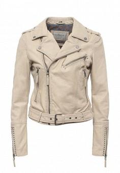 Куртка кожаная, Oakwood, цвет: бежевый. Артикул: OA002EWPPL39. Женская одежда / Верхняя одежда / Кожаные куртки