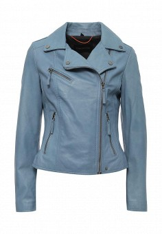 Куртка кожаная, Oakwood, цвет: голубой. Артикул: OA002EWPPL41. Женская одежда / Верхняя одежда / Кожаные куртки