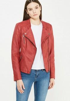 Куртка кожаная, Only, цвет: красный. Артикул: ON380EWUVN73. Женская одежда / Верхняя одежда / Косухи