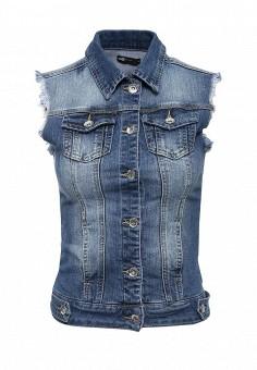 Жилет джинсовый, oodji, цвет: синий. Артикул: OO001EWIWV45. Женская одежда / Верхняя одежда / Жилеты