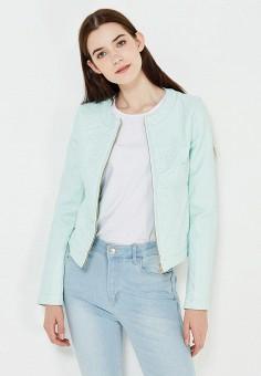 Куртка кожаная, oodji, цвет: бирюзовый. Артикул: OO001EWIYF79. Женская одежда / Верхняя одежда / Кожаные куртки