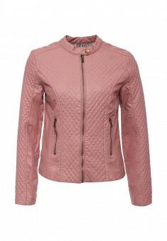 Куртка кожаная, oodji, цвет: розовый. Артикул: OO001EWKVI45. Женская одежда / Верхняя одежда / Кожаные куртки