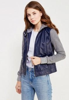 Куртка кожаная, oodji, цвет: синий. Артикул: OO001EWLCR82. Женская одежда / Верхняя одежда / Кожаные куртки