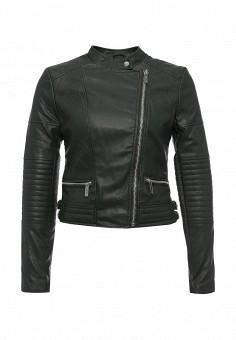 Куртка кожаная, oodji, цвет: зеленый. Артикул: OO001EWLQE91. Женская одежда / Верхняя одежда / Кожаные куртки