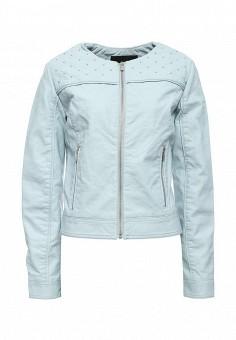Куртка кожаная, oodji, цвет: голубой. Артикул: OO001EWRGY65. Женская одежда / Верхняя одежда / Кожаные куртки