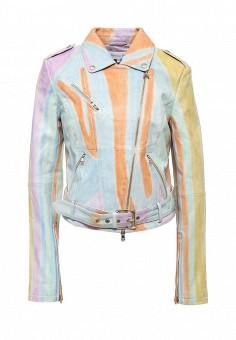 Куртка кожаная, Patrizia Pepe, цвет: мультиколор. Артикул: PA748EWPTN13. Женская одежда / Верхняя одежда / Кожаные куртки