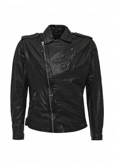Куртка кожаная, Pepe Jeans, цвет: черный. Артикул: PE299EMIIL48. Мужская одежда / Верхняя одежда / Кожаные куртки