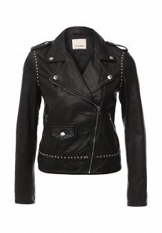 Куртка кожаная, Pinko, цвет: черный. Артикул: PI754EWOID69. Женская одежда / Верхняя одежда / Кожаные куртки