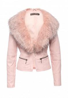 Куртка кожаная, QED London, цвет: розовый. Артикул: QE001EWROM20. Женская одежда / Верхняя одежда / Кожаные куртки