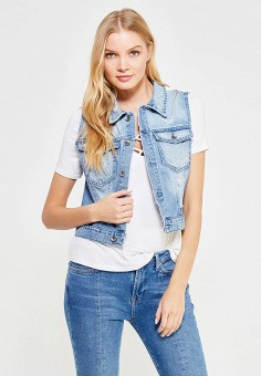 Жилет джинсовый, Rinascimento, цвет: голубой. Артикул: RI005EWTOM30. Женская одежда / Верхняя одежда / Жилеты