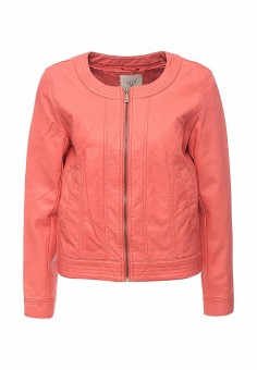 Куртка кожаная, Sela, цвет: коралловый. Артикул: SE001EWOPZ35. Женская одежда / Верхняя одежда / Кожаные куртки
