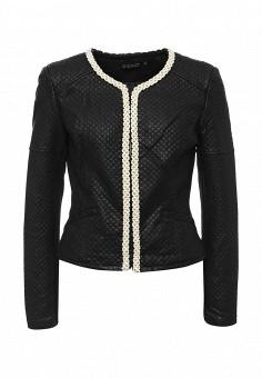 Куртка кожаная, S'Ebo, цвет: черный. Артикул: SE032EMQOE25. Женская одежда / Верхняя одежда / Кожаные куртки