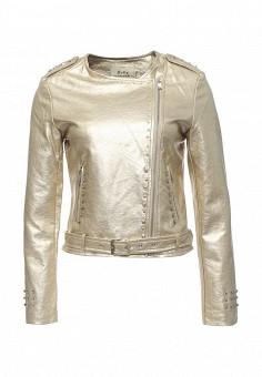 Куртка кожаная, Softy, цвет: золотой. Артикул: SO017EWROZ59. Женская одежда / Верхняя одежда / Косухи