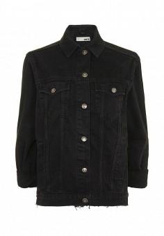 Куртка джинсовая, Topshop, цвет: черный. Артикул: TO029EWQJG12. Женская одежда / Верхняя одежда / Джинсовые куртки