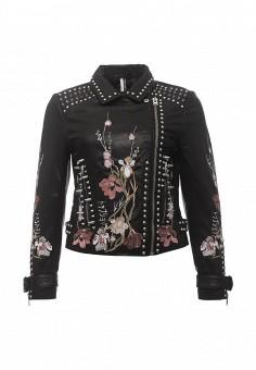 Куртка, Topshop, цвет: черный. Артикул: TO029EWRMD75. Женская одежда / Верхняя одежда / Кожаные куртки