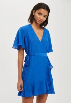 Платье, Topshop, цвет: синий. Артикул: TO029EWUQS96. Женская одежда / Платья и сарафаны / Повседневные платья / Платья с запахом
