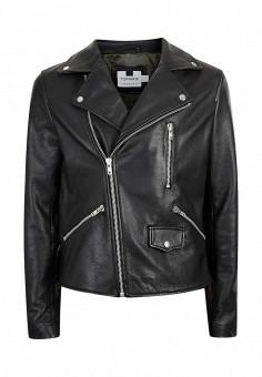 Куртка кожаная, Topman, цвет: черный. Артикул: TO030EMMTF36. Мужская одежда / Верхняя одежда / Кожаные куртки
