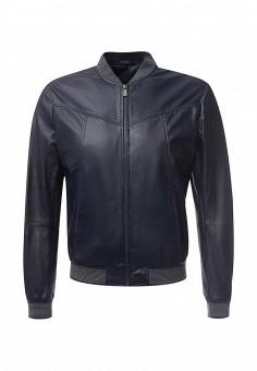 Куртка кожаная, Trussardi Jeans, цвет: синий. Артикул: TR016EMJOH62. Мужская одежда / Верхняя одежда / Кожаные куртки