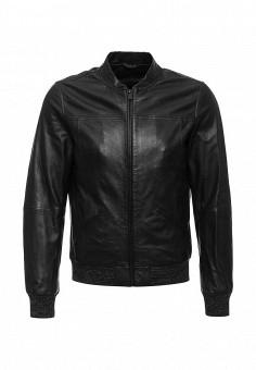 Куртка кожаная, Trussardi Jeans, цвет: черный. Артикул: TR016EMKSU50. Мужская одежда / Верхняя одежда / Кожаные куртки