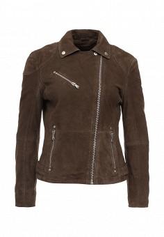 Куртка кожаная, Trussardi Jeans, цвет: коричневый. Артикул: TR016EWOOP62. Женская одежда