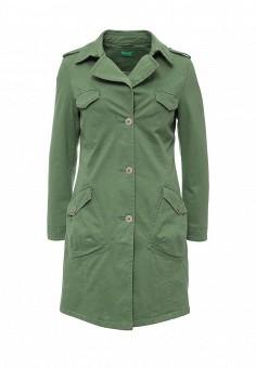 Плащ, United Colors of Benetton, цвет: зеленый. Артикул: UN012EWPIG60. Женская одежда / Верхняя одежда / Плащи и тренчкоты
