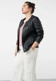 Куртка кожаная, Violeta by Mango, цвет: черный. Артикул: VI005EWTWY29. Женская одежда / Верхняя одежда / Кожаные куртки
