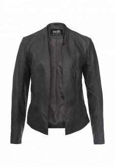 Куртка кожаная, Wallis, цвет: серый. Артикул: WA007EWQBQ89. Женская одежда / Верхняя одежда / Кожаные куртки