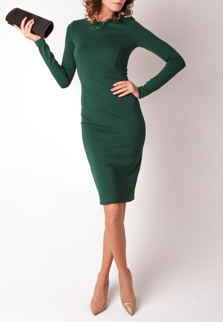 Тёмно зелёное платье