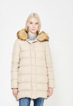 Пуховик, Armani Jeans, цвет: бежевый. Артикул: AR411EWTYA41. Премиум / Одежда / Верхняя одежда / Пуховики и зимние куртки