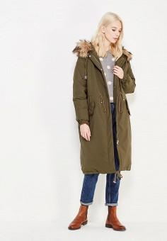 Пуховик, Befree, цвет: хаки. Артикул: BE031EWYME47. Женская одежда / Верхняя одежда / Пуховики и зимние куртки / Длинные пуховики и куртки