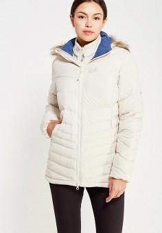 Пуховик, Jack Wolfskin, цвет: бежевый. Артикул: JA021EWKHQ82. Женская одежда / Верхняя одежда / Пуховики и зимние куртки
