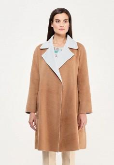 Пальто, Max&Co, цвет: бежевый, голубой. Артикул: MA111EWUBZ99. Премиум / Одежда / Верхняя одежда