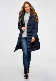 Пуховик, oodji, цвет: синий. Артикул: OO001EWZJG39. Женская одежда / Верхняя одежда / Пуховики и зимние куртки