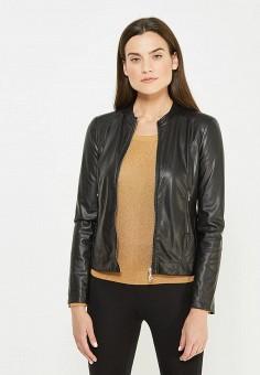 Куртка кожаная, Patrizia Pepe, цвет: черный. Артикул: PA748EWTUR61. Премиум / Одежда / Верхняя одежда