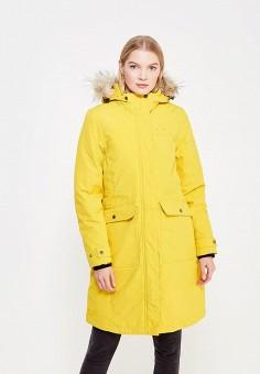 Пуховик, Trespass, цвет: желтый. Артикул: TR795EWWXO83. Женская одежда / Верхняя одежда / Пуховики и зимние куртки / Длинные пуховики и куртки