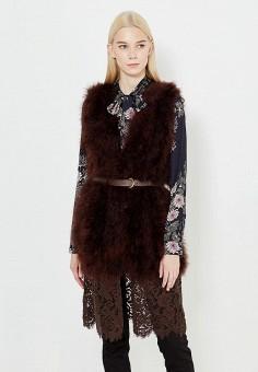 Жилет меховой, Twin-Set Simona Barbieri, цвет: коричневый. Артикул: TW005EWUMD24. Премиум / Одежда / Верхняя одежда