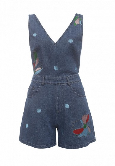 Комбинезон джинсовый LOST INK PLUNGE DENIM PLAYSUIT WITH EMBROIDERY